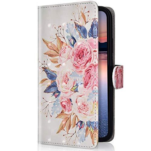 Uposao Compatibile con Huawei P30 lite Pelle Folio Wallet Cover Morbido Case Libro PU Leather, Magnetico Flip Stand Protettiva Portafoglio, ID Slot, Chiusura Magnetica,Girasole