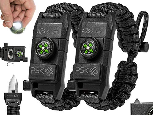 PSK Paracord Bracelet 8-in-1 Personal Survival Kit Urban & Outdoors Survival Knife, Fire Starter, Glass Breaker, Survival Whistle, Signal Mirror, Fishing Hook & String, Compass (Black / Black)