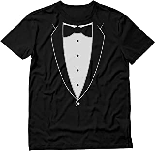 Printed Tuxedo Tshirt with Bow Tie Suit Funny Men Tee Shirt