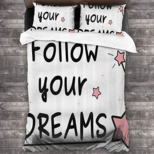 Duvet Cover Set 3 PCS,Follow Your Dreams Magic Sticks Stars Text Simple Hand Writing Style,Bedding Duvet Cover with 2 Pillowcases(Single 135x210cm)