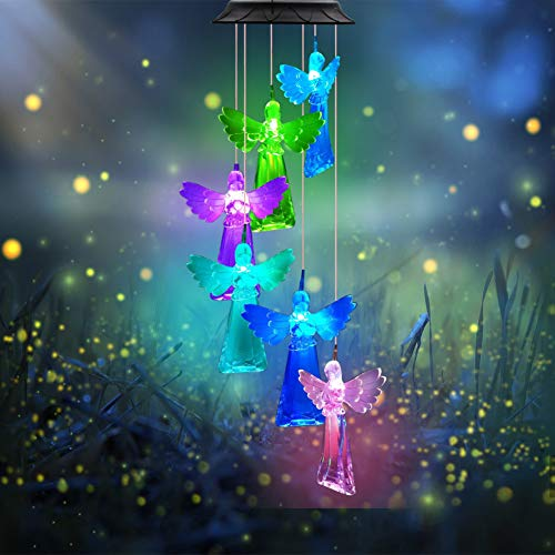 DYHOME Solar Angel Wind Chimes Changing Colors, Rainproof Outdoor Wind Chimes, Gardening Gifts for Mom Angel Gifts for Women Who Has Everything