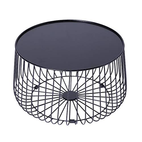 Coffee Tables Iron Art Sofa Side End Table for Coffee Laptop Snack, with Metal Frame Nightstand Bedside Table, Nordic Living Room Creative Design, Black