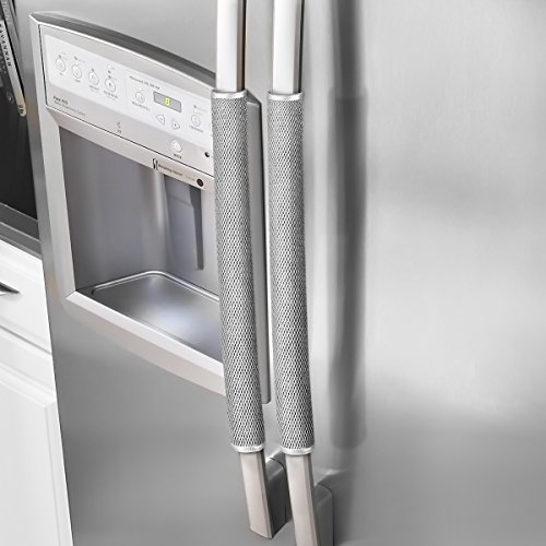 OUGAR8 Refrigerator Door Handle Covers Protective Electrical Kitchen Appliances Gloves Fridge Microwave Dishwasher Door Cloth Protector- Catches Drips,Smudges&Fingerprints Dust Covers (Gray Plush)