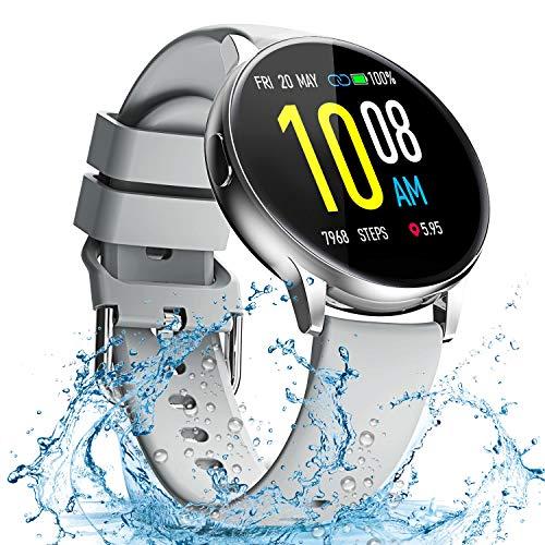 Smartwatch, Reloj Inteligente Mujer Hombre Niños Fitness Tracker, Pulsera de Actividad Inteligente Contador de Caloría Monitoreo Pulsómetros Auriculares Bluetooth Deportivos, para Android iOS (gris)