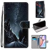 Miagon Flip PU Leder Schutzhülle für Samsung Galaxy A10S,Bunt Muster Hülle Brieftasche Case Cover Ständer mit Kartenfächer Trageschlaufe,Nacht Straße -