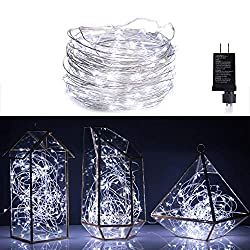 Micro 100 Pure White LED Starry Lights Plug In on 32 Ft Long Silver Ultra Thin String Wire [NEWEST VERSION] , Power Adaptor Included, Perfect For Creating Instant Appeal in Any Setting - Parties, Bedrooms, or an Intimate Environment Anywhere in the Home, Waterproof LEDs, 100% Products Satisfaction Guarantee