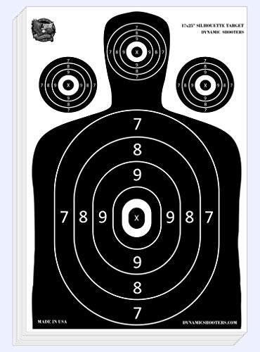 Dynamic Shooters – 100 Pack 17X25-inch Made in USA Large Paper Silhouette Range Shooting Targets - Firearm, Rifle, Gun, Pistol, BB Guns, Airsoft, Pellet Gun, Air Rifle