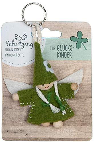 GILDE - 42645 - Schutzengel, Schlüsselanhänger, Wichtel, Für Glückskinder, Filz und Holz, 9cm, grün