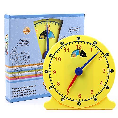 Tacobear Lernuhr Kinder Durchmesser 30cm Lernuhr Grundschule Zeit Lernen Uhr Lernen für Kinder Lernspielzeug Montessori Spielzeug für Kleinkinder Kinder