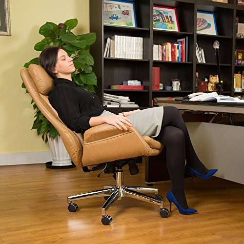 Glitzhome Adjustable High-Back Office Chair Executive Swivel Chair PU Leather, Camel