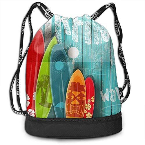 DJNGN Mochila con cordón, Tabla de Surf en Estilo Vintage en Color Turquesa con Estampado de Madera, Deporte, Viaje, Gimnasio, Mochila, Paquete