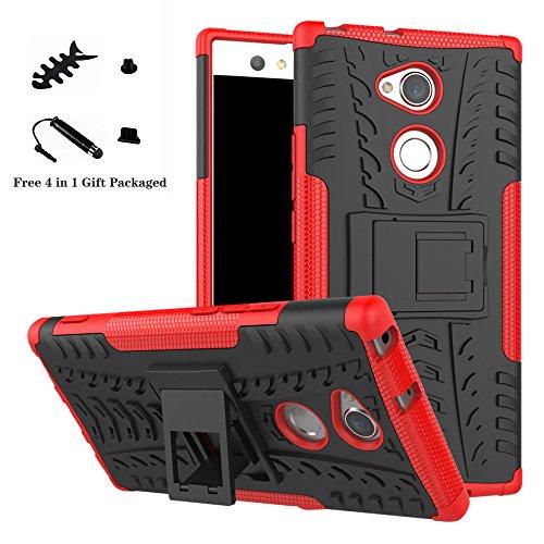 LiuShan Sony XA2 Ultra Custodia, Protettiva Shockproof Rigida Dual Layer Resistente agli Urti con cavalletto Caso per Sony Xperia XA2 Ultra Smartphone(con 4in1 Regalo impacchettato),Rosso