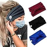 Zoestar Diademas de botón ancho negro para yoga con nudos para la cabeza de la oreja, soporte antide...