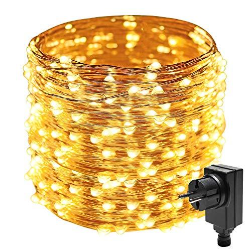 Easternstar Stringa luci filo rame 20M 200 LED catena luminosa interni ed esterno Decorazione con spina per Natale camera festa bianca calda (Filo di rame 200LED)