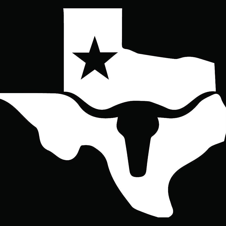 ANGDEST Texas Longhorn MAP (White) (Set of 2) Premium Waterproof Vinyl Decal Stickers for Laptop Phone Accessory Helmet Car Window Bumper Mug Tuber Cup Door Wall Decoration