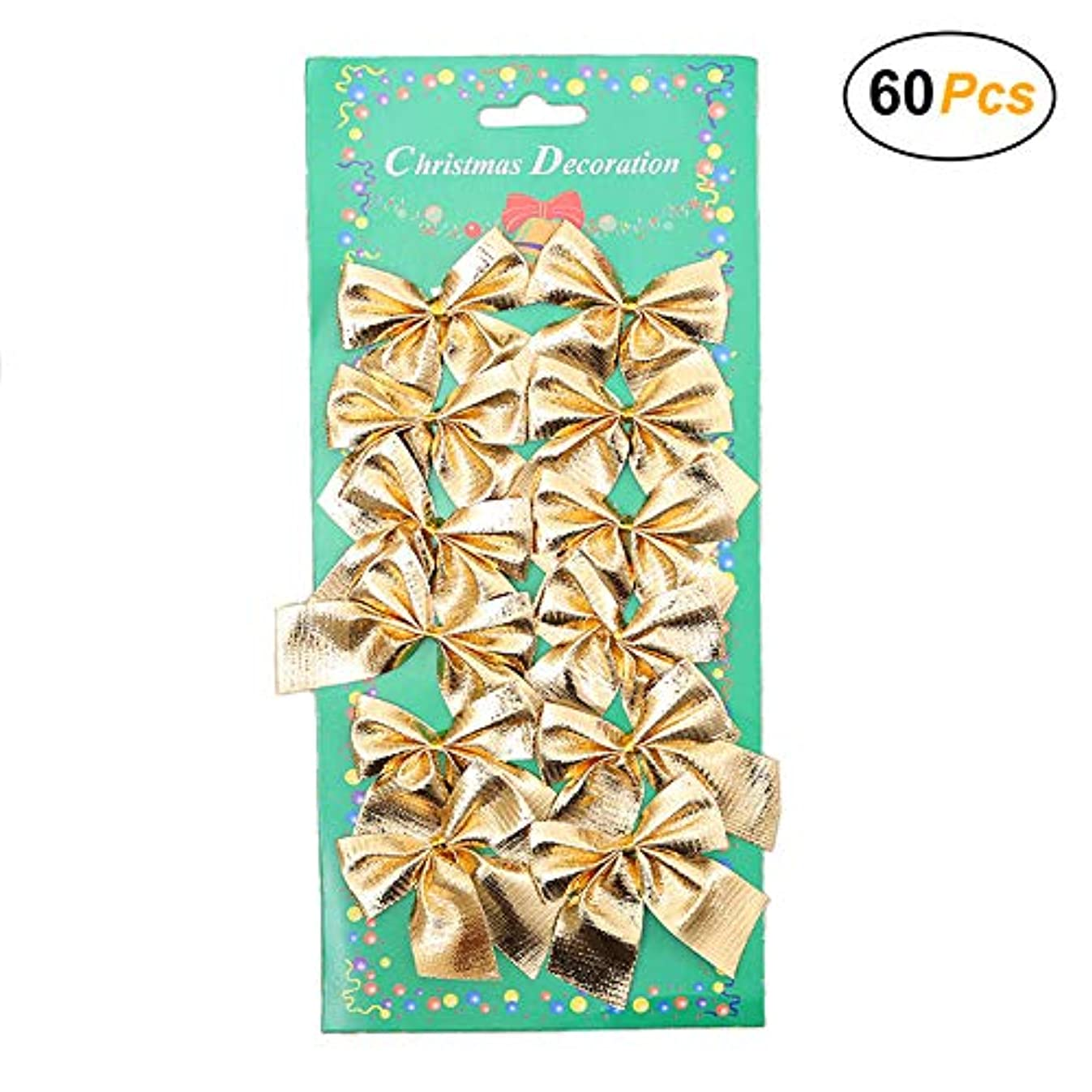 Christmas Bows Festival Bowknot Christmas Tree Decorations, Pack of 60 (Gold)