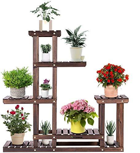 VIVOSUN Wood Plant Stand High Low Shelves Flower Rack Display for Indoor Outdoor Garden Lawn Patio Bathroom Office Living Room Balcony (6 Wood Shelves 10 Pots)
