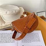 Mdsfe Patrón de cocodrilo Bolso de sillín Cuero de PU Bolso de diseñador para Mujer Bolso Bandolera Vintage - marrón, 22.5 X 9.5 X 14.5 CM