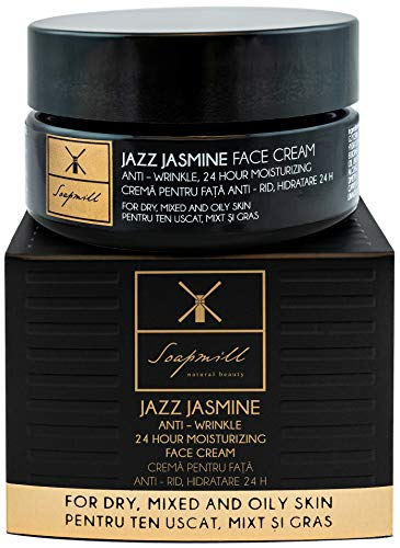 Gesichtscreme JAZZ Jasmine für Damen | Handmade BIO Kosmetik Alternative für Hyaluronsäure und Retinol | 50 ml Feuchtigkeitscreme mit Linefill und Emolid CC von Soapmill