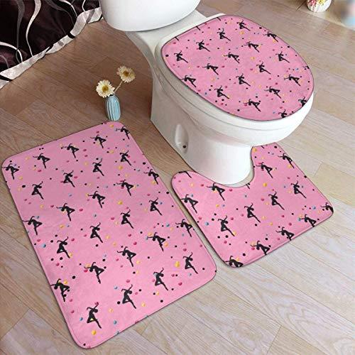 Lawenp Juego de alfombras de baño de Moda Delantera de Bailarina de Ballet, 3 Piezas, Almohadillas Antideslizantes, Alfombrilla de baño + Contorno + Tapa de Inodoro