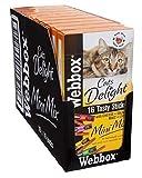 Webbox Delight Gatto Mini Bastoncini Assortiti, 16Bastoncini, Confezione da 10