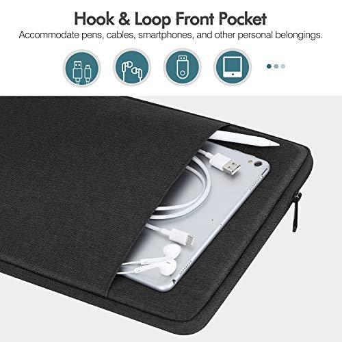 MoKo Sleeve Tasche Kompatibel mit MacBook Air Retina 13.3 2018, MacBook Air 13.3 2019/2020, iPad Pro 12.9 2018/2020, Polyesterfaser Laptophülle mit Reißverschluss und 2 Tasche Tablet Hülle, Schwarz