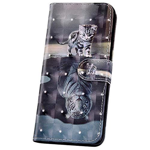 JAWSEU zacht PU lederen Flip Case compatibel met Samsung Galaxy A40 met 3D schattig patroon Kat Tijger