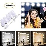 STN Lumière de Miroir, 10 Ampoules Hollywood Kit de Lumière LED Dimmable Lampe - USB Lampe de maquillage 3 Couleurs 10 Niveaux...