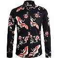 APTRO Men's Cotton Fashion Long Sleeve Floral Shirt #1031 XL