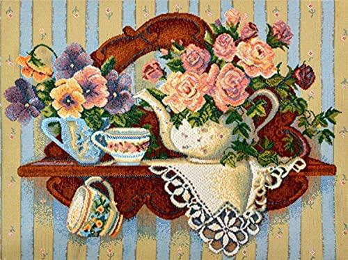 5D diamante pintura cocina completo redondo diamante bordado flor mosaico taza costura regalo decoración del hogar A2 30x40cm