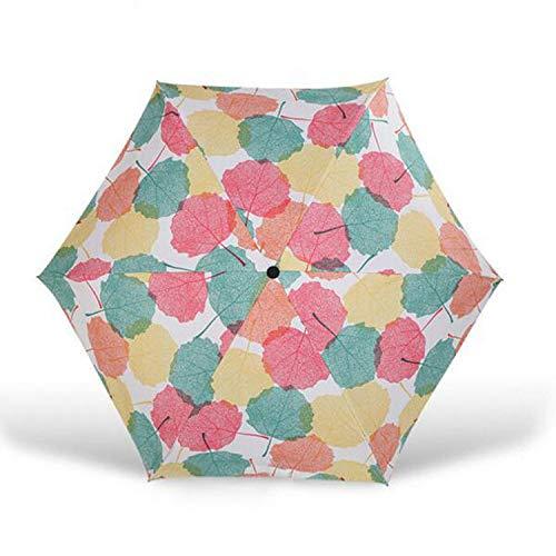 Paraguas Plegable langchao Parasol 50% de Descuento Paraguas Mini Verano Fruta Protector Solar Vinilo Ultra Ligero, Compacto y portátil Hoja de Arce 19 Pulgadas