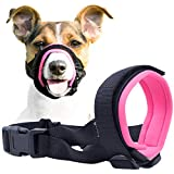 Gentle Muzzle Guard for Dogs - Prevents Biting and Unwanted Chewing Safely Secure Comfort Fit - Soft Neoprene Padding – No More Chafing – Training Guide Helps Build Bonds with Pet (S, Pink)