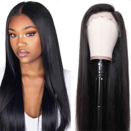 UNice Hair 13x6 Straight Lace Front Human Hair Wigs, Unprocessed Brazilian Virgin Hair Free Part Wig Pre Plucked with Baby Hair 150% Density Natural Color (18 inches)