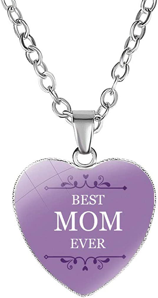 FOY-MALL Metal Glass Mom Heart Pendant Necklace XL1516N