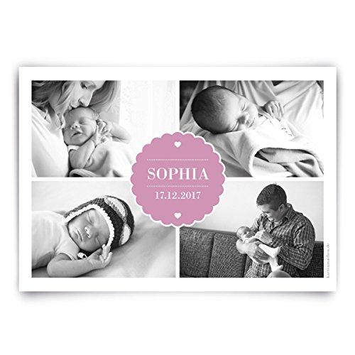 Geburtskarten (30 Stück) - Vier Fotos - Geburt Babykarten Mädchen Jungen Foto Karten in Rosa