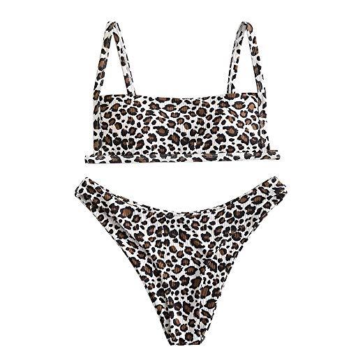 ZAFUL Damen Zweiteiliger Bikinis, gepolsterter Badeanzug mit Gerippte Leopard-Muster und hochtaillierte Badehose (Leopardenmuster, M)