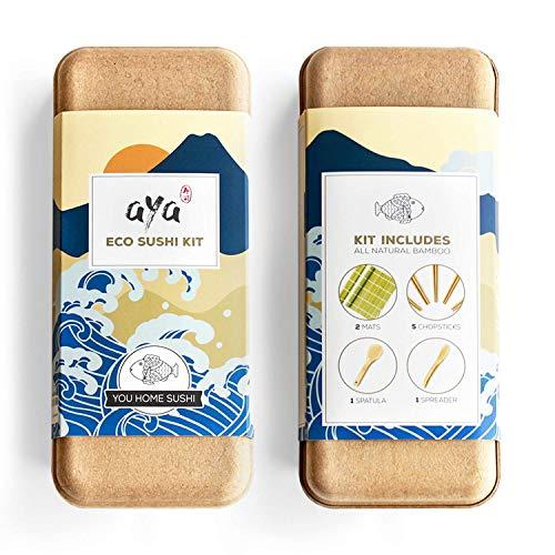 Kit per la Produzione di Sushi – Originale AYA Eco Sushi Kit – Tutto Naturale Ecologico – Bambù Biodegradabile – 2 Tappetini per Sushi – 5 Paia di Bacchette – 1 Spatola – 1 Cucchiaio