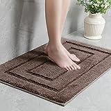 "BCLBUSTE Bathroom Rug Mat, Ultra Soft and Absorbent Microfiber Bath Mat, Non Slip Bath Rugs for Bathroom, Tub, Shower, Machine Washable, 23.6""x15.7"", Brown"