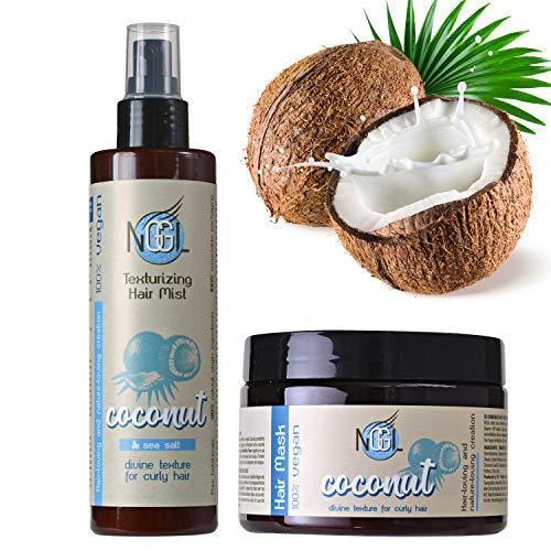 NGGL Veganes Premium-Spa für die Haare mit 100% natürlichem Kokosnussöl, Anti-Frizz Haar- und Kopfhautmaske 350ml und Texturierendes Haarspray mit Meersalz 200ml