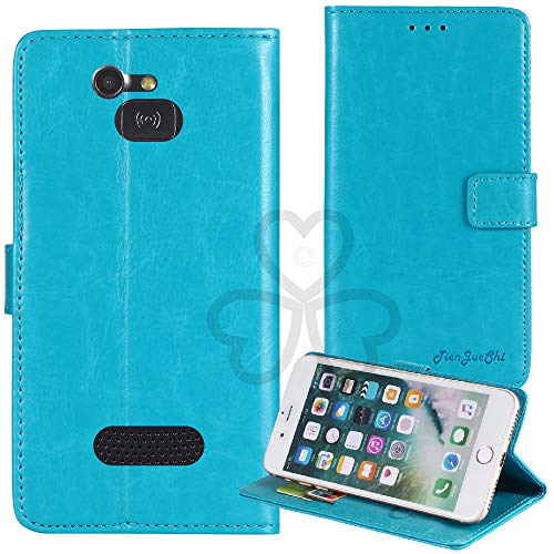 TienJueShi Blau Retro TPU Silikon Flip Book Stand Brief Leder Tasche Schütz Hülle Handy Hülle Für Doro 5516 2.4 inch Abdeckung Wallet Cover Etui