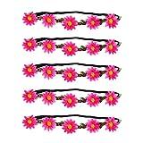 PRETYZOOM 5Pcs Diademas de Flores Bohemias Diademas de Flores de Margarita Diademas de Guirnalda de Girasol para Fiesta de Playa Hawaiana Rosa