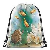 Bolsa de deporte para gimnasio, cincha de viaje, para mujeres, hombres, niños, ilustración artística de la vida oceánica, acuario, animales tropicales, peces de colores y conchas marinas