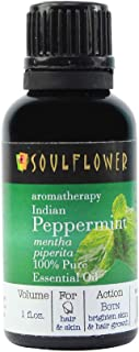 Peppermint Essential Oil by Soulflower, 100% Pure Indian Undiluted, USFDA approved, Therapeutic Grade, Refreshing Effect on Body & Mind, Vegan, Organic, Aromatherapy,BONUS Glass Dropper, 1 FL.OZ