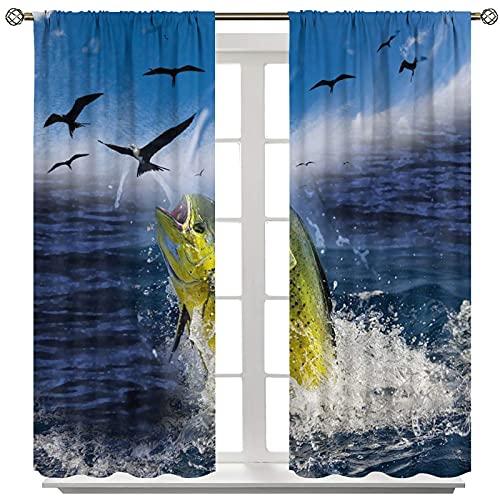 Mahi Fish Flying Bird Ocean Tende oscuranti, set di 2 pannelli con asta oscurante, termica, isolante, per soggiorno, matrimoni, feste, cerimonie, decorazioni per palco