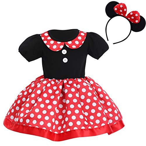 Niños Bebé Niña Polka Dot Bowknot Vestido Tutu + Minnie Mouse Diadema...