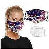 Herren Damen Mundschutz Maske mit Filter Happy New Year Drucken Reuseble Waschbare Masken, Mundmasken Mouth Cover Protectors Gesichtsmaske Outdoor Multifunktionstuch Halstuch (A)