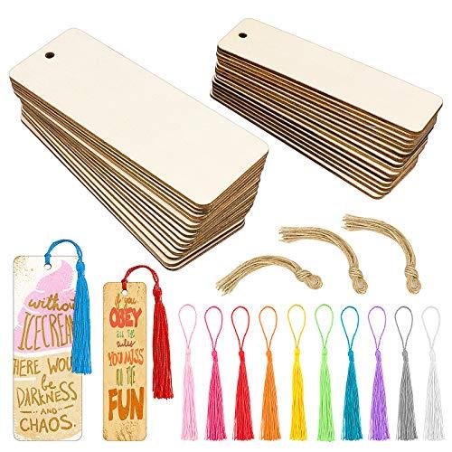 Meetory 30 Stücke Holz Blanko Lesezeichen Leere Lesezeichen mit 30 Stück 10 Farben Bunten Quasten und Seilen für DIY Handwerk Lesezeichen und Geschenke Tags (2 Größen)