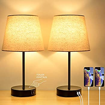 2-Pack Bosceos 3-Way Touch Control Dimmable Table Lamp