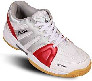 KWICKK Running Sports Shoes for PU Professional Badminton Shoes for Red Unisex Size - 2 UK