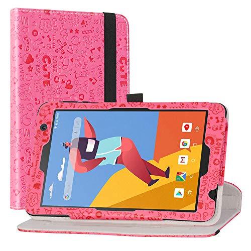 LiuShan Rotary Funda para VANKYO MatrixPad S8 / Dragon Touch Notepad Y80, Folio Soporte PU Cuero con Funda Caso para 8' VANKYO MatrixPad S8 / Dragon Touch Notepad Y80(Not fit Other Models),Magenta